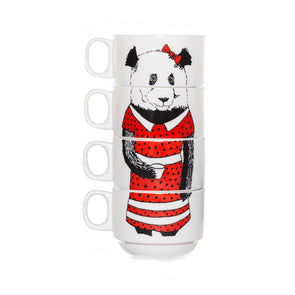 Miss Panda Stackable Coffee Cups Set