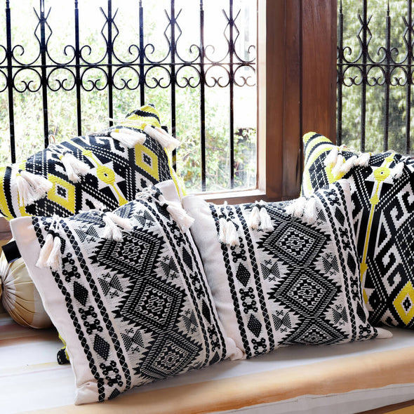 Monochrome Bedouin Tasselled Cushion