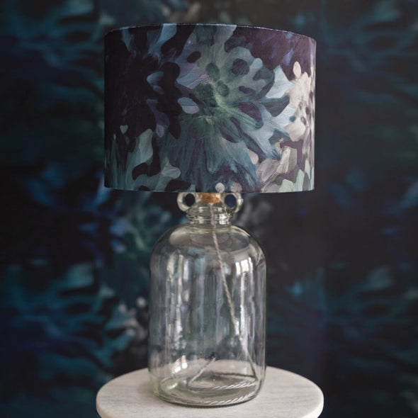 Moody Florals Lampshade With Silver Metallic Lining