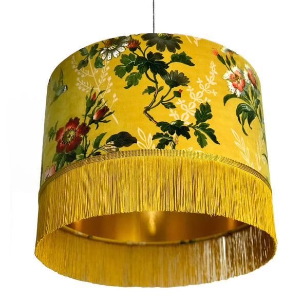 Mustard Floral Velvet Lampshade with Fringing And Gold Lining