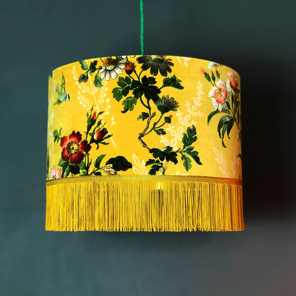 Mustard Floral Velvet Lampshade with Fringing