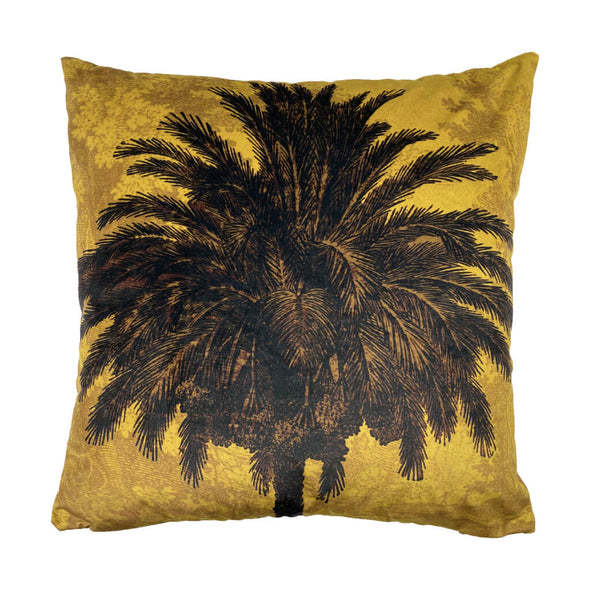 Mustard Palms Velvet Cushion