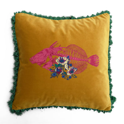 Mustard Skeletal Fish Velvet Cushion