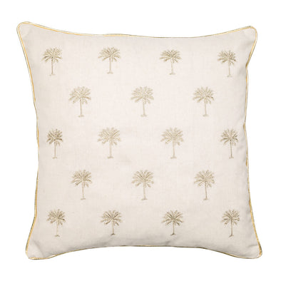 Natural Cushion with Golden Palm Trees
