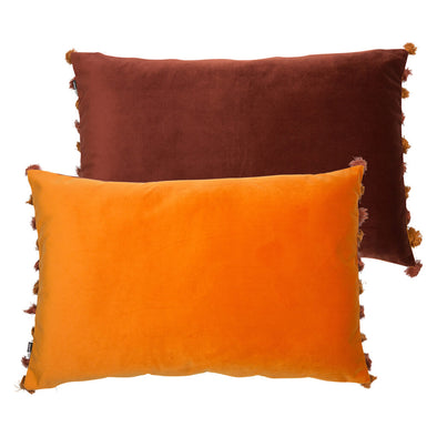 Orange and Rust Brown Rectangle Velvet Cushion