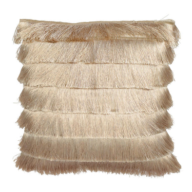 Pale Gold Gatsby Fringed Cushion