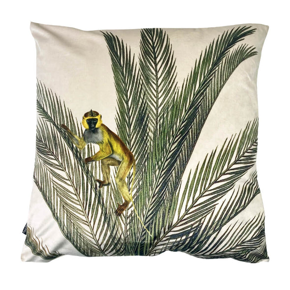 Palms Monkey Velvet Cushion