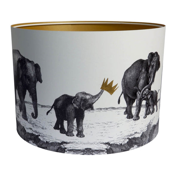 Parade of Elephants Lampshade With Gold Lining