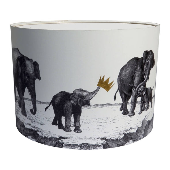 Parade of Elephants Lampshade With White Lining