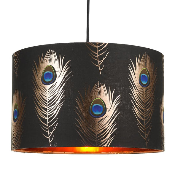 Peacock Feathers Ceiling Lamp Shade With Gold Lining