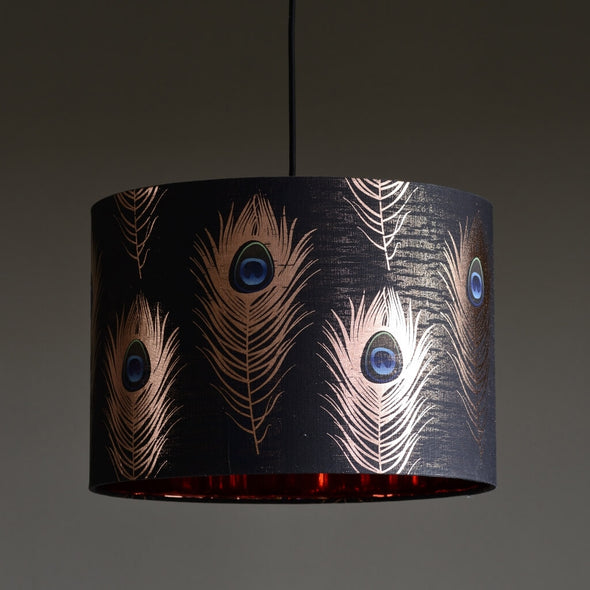 Peacock Feathers Lampshade With Copper Lining