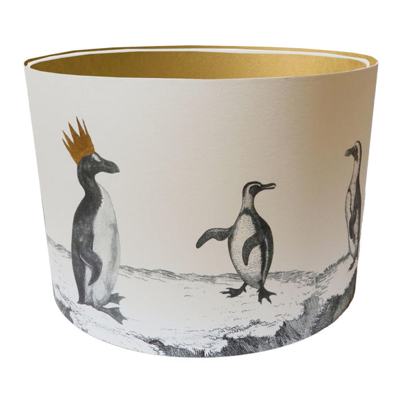 Penguins Lampshade With Gold Lining