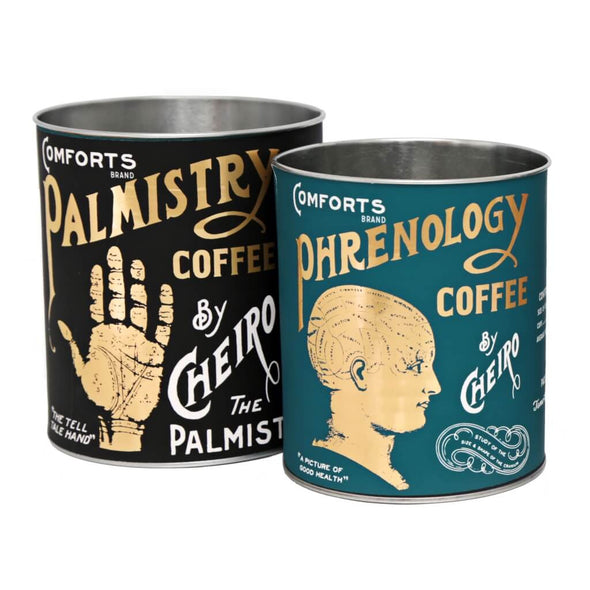 Phrenology And Palmistry Storage Tins Set
