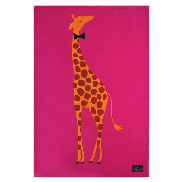 Pink Giraffe Tea Towel