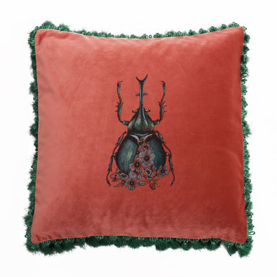 Pink Velvet Beetle Cushion