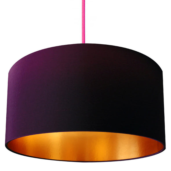 Plum Lamp Shade with Gold Lining