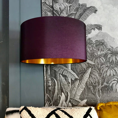 Plum Lampshade with Gold Lining