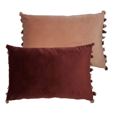 Plum Red and Pink Rectangle Velvet Cushion
