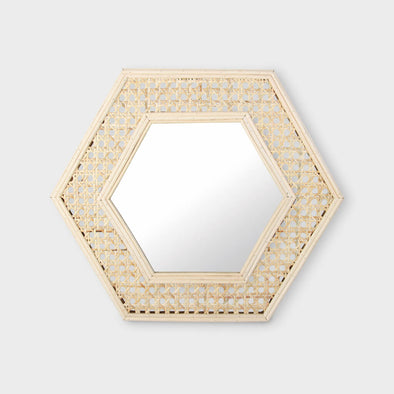 Rattan Hexagon Mirror