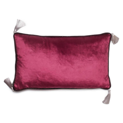 Rectangular Dark Purple Velvet Cushion With Tassels