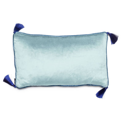 Rectangular Soft Blue Velvet Cushion With Tassels