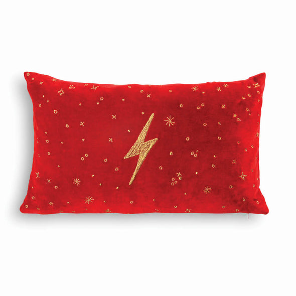 Red Lightning Rectangle Velvet Cushion