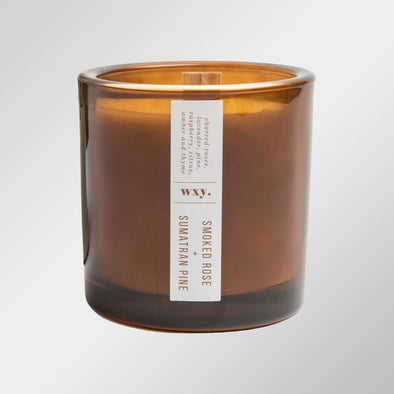 Rose and Pine Amber Glass Candle