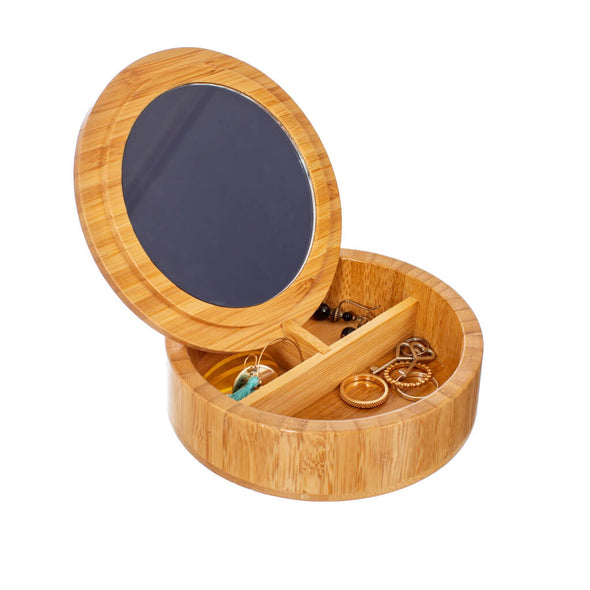 Round Small Wooden Jewellery Box
