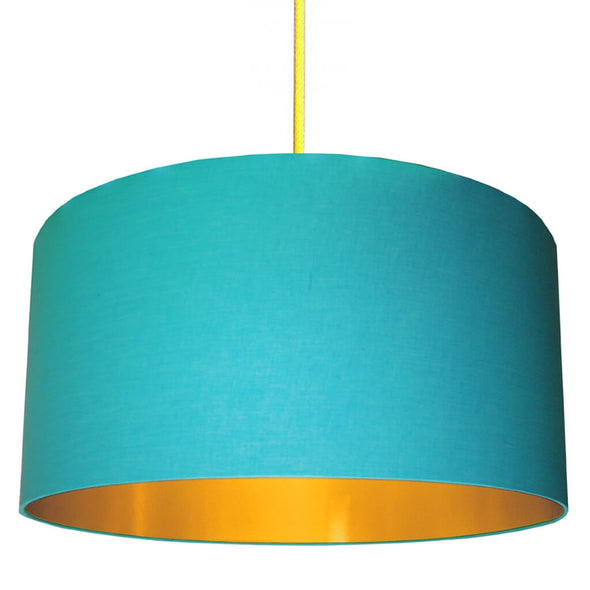 Sky Blue Lampshade With Gold Lining