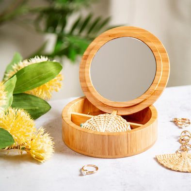 Small Round Bamboo Jewellery Box
