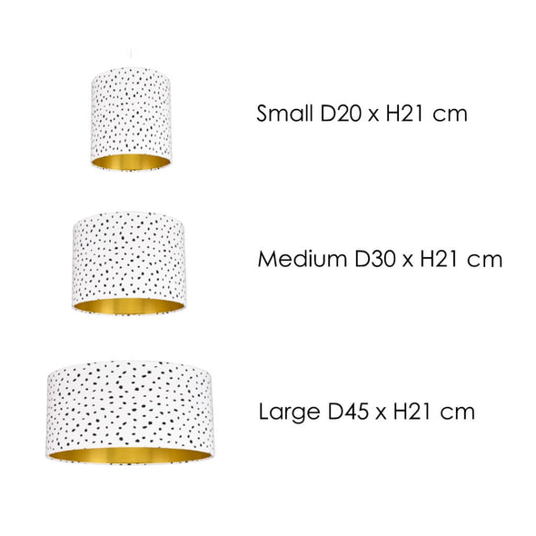Speckled Black and White Lampshade Size Guide