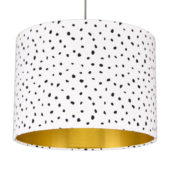 Speckled Black and White Lampshade with Brushed Gold Lining