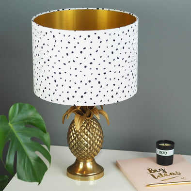 Speckled Monochrome Lampshade with Brushed Gold Lining