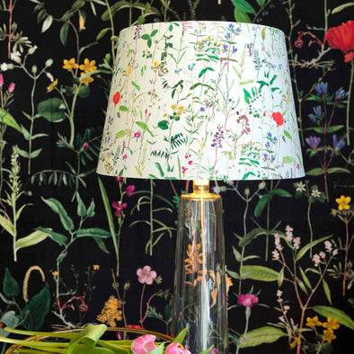 Spring Flowers Cone Lamp Shade With Gold Lining