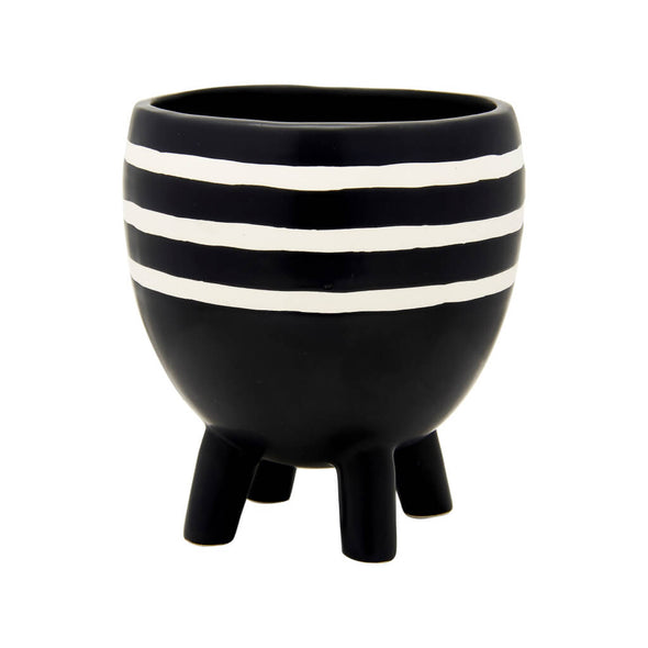 Striped Monochrome Planter on Legs