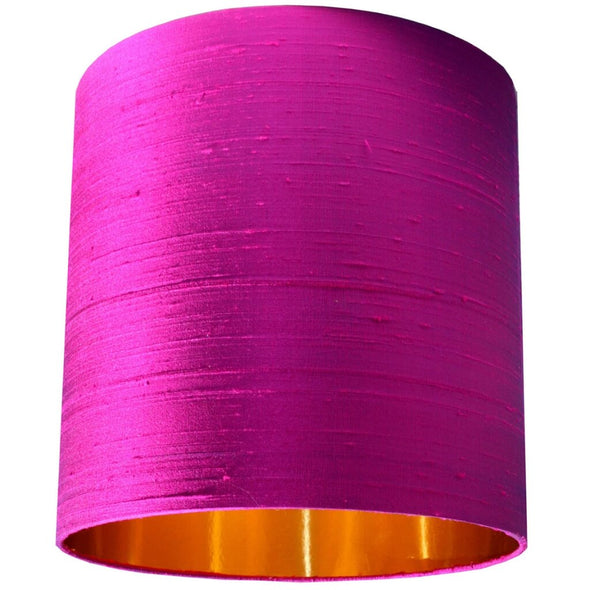 Tall Pink Silk Lampshade with Gold Lining