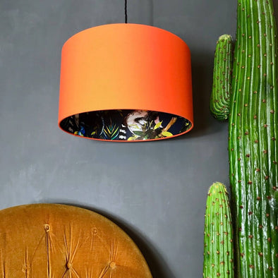 Tangerine Lampshade With Lemurs Lining
