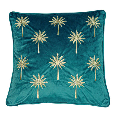 Teal Velvet Cushion with Gold Embroidered Palms