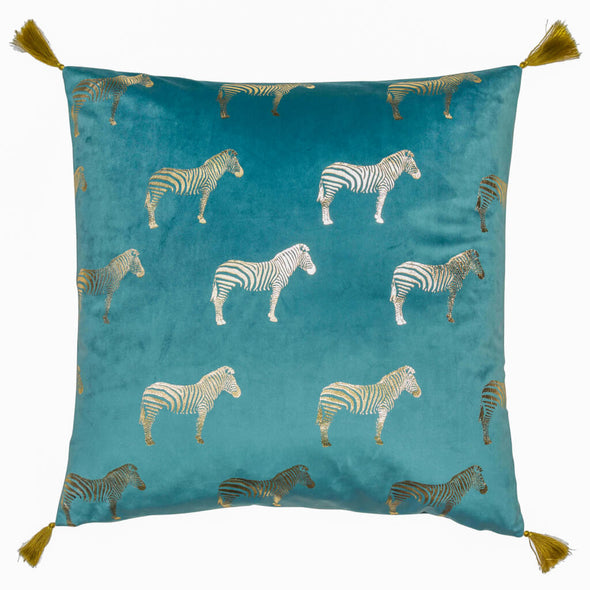 Teal Velvet Cushion with Golden Zebras