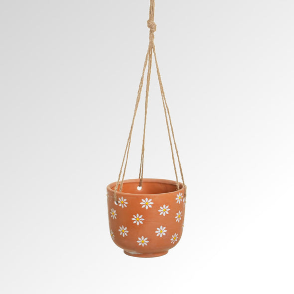 Terracotta Daisies Hanging Planter