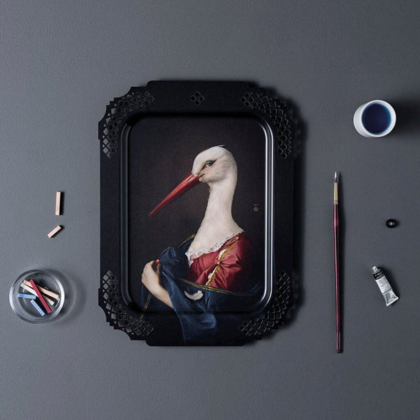 The Stork Portrait Rectangular Serving Tray