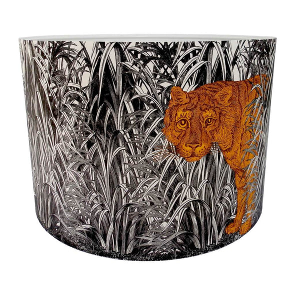 Tiger Lampshade With White Lining