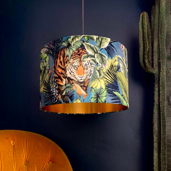 Tiger Velvet Lampshade With Gold Lining in Flint Blue
