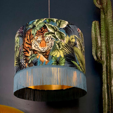 Tiger Velvet Lampshade with Fringing In Flint Blue