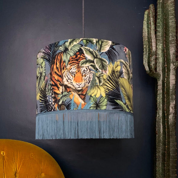 Tiger Velvet Lampshade with Fringing
