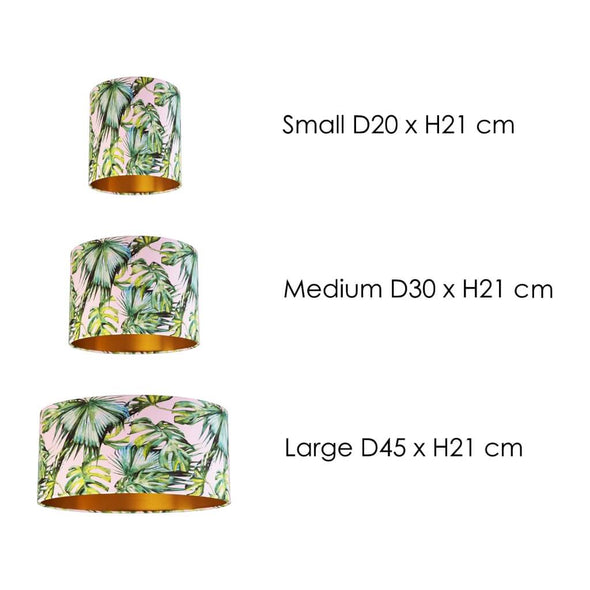 Tropical Palm Leaf Lampshade Size Guide