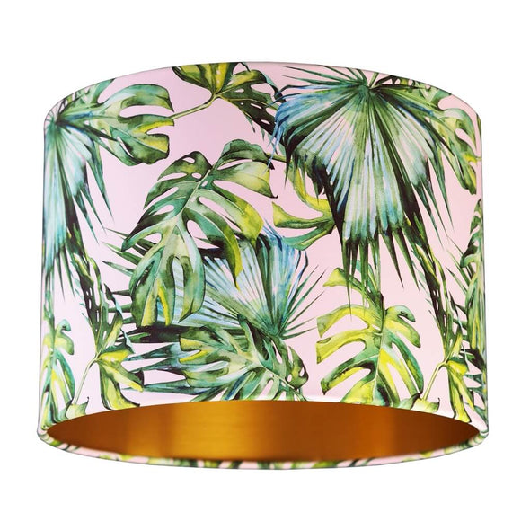 Tropical Palm Leaf Lampshade with Brushed Gold Lining