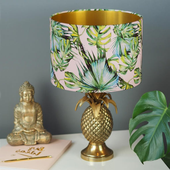 Tropical Palm Leaf On Pink Lampshade with Brushed Gold Lining