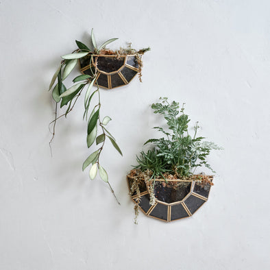 Wall Hung Brass and Glass Planter