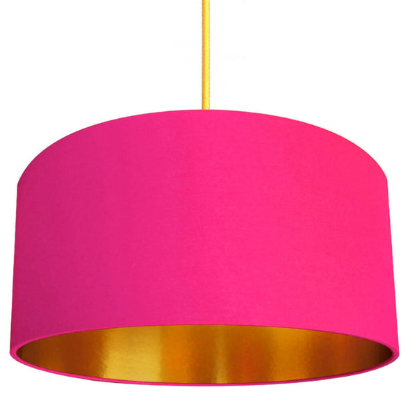 Watermelon Pink Lampshade With Gold Lining